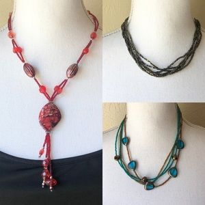 Seed Bead Necklace Bundle of 3 Costume Jewelry